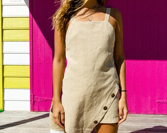 Bouton linen mini dress