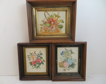 Three Vintage Theorem's by Barbara Novak Gorgeous Antique Walnut Frames