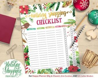 50% OFF Printable Holiday Shopping Checklist | Happy Planner | Erin Condren | U.S. Letter Binder | Instant Download