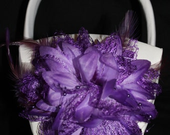 WHITE or CREAM Satin Flower Girl Basket with Purple with Feathers