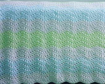 Crossed Double Ripple Afghan Crochet Pattern *PDF FILE ONLY* Instant Download