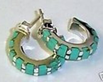 Turquoise hoop earrings small sterling silver well made sturdy