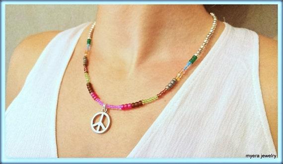 Flower Power Pendant, Womens Peace Necklace, Spiritual Necklace, CND Peace Necklace, Statement Necklace, Charm Peace Pendant