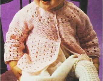 Crochet Baby JACKET Pattern Vintage 70s Girl Crochet Baby Matinee Jacket Pattern Crochet Baby Sweater Pattern