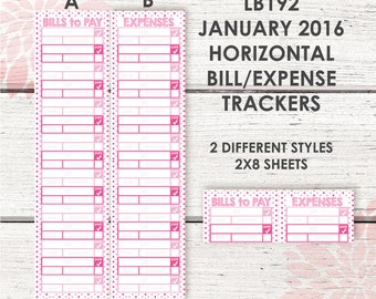 Monthly Bill / Expense Tracker Stickers | JANUARY 2016 HORIZONTAL Color Palette | LB192 |