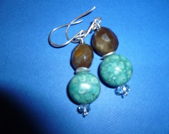 Brown Sugar and Turquoise Earrings