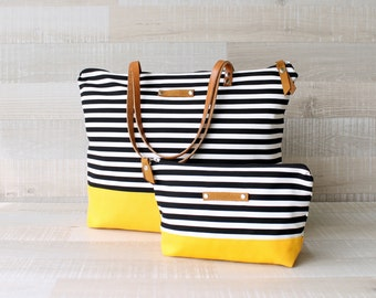 Striped Tote Bag, EXPRESS SHIPPING, Diaper Bag, Leather Strap, Diaper Set, Beach Bag, Nautical Bag, Handbag, Canvas Bag, Laptop Bag, macbook