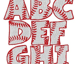 Filled In Baseball Font Machine Embroidery Monogram Set 4x4 Hoop
