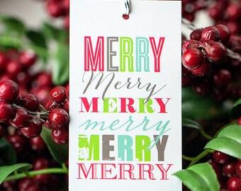 Printable Merry Merry Christmas gift tags, modern typography gift tags, printable gift tags, instant download printable