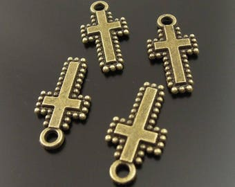 4 crosses charms pendants, bronze