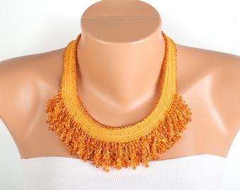 Beaded necklace crochet beaded necklace bib necklace in orange