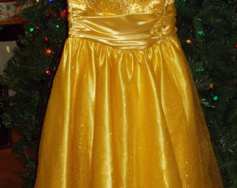Gold Satin Sequined party dress