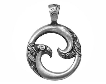 Maori Whirlpool 1.25 inch ( 33 mm ) Pewter Pendant Charm Silver Color