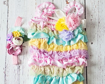 Easter Outfit, First Easter Outfit, Baby Girl Romper, Easter Outfit, Coral Lace Romper,Romper, 1st Easter Outfit, Lace Romper,