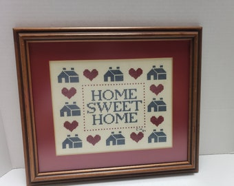 "Handmade Vintage ""Home Sweet Home"" Cross Stitch"