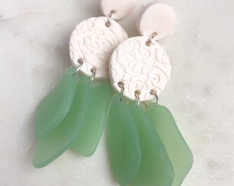 Sea glass dangle earrings, faux sea glass earrings, polymer clay earrings, clay jewelry