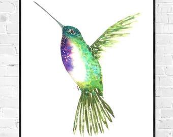 Original Hummingbird painting-bird painting-Original water color-Hummingbird watercolor-colorful art-zen water color-nature illustration-small art-