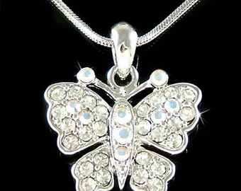 Swarovski Crystal Elegant Clear BUTTERFLY Bridal Wedding Charm Pendant Chain Necklace Jewelry Best Friend Mother's Day New Christmas Gift