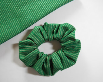 Gold Stripes On Green Scrunchie