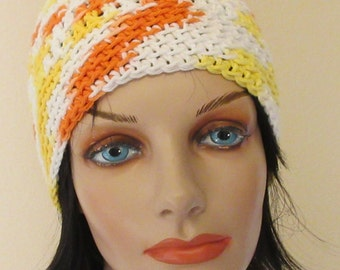 Orange, White and Yellow Beanie, Crochet Beanie,  Summer Hat, Spring Beanie, Cotton Hat, Women's Cotton Hat, Warm Weather Hat