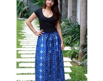 Royal Blue Maxi Skirt/ Ethnic Skirt in Blue/ OOAK