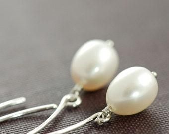 Long Pearl Earrings in Sterling Silver, June Birthstone Jewelry, Dangle