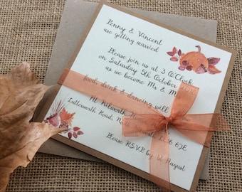 Pumpkin - Sample - Autumn wedding invitation bundle
