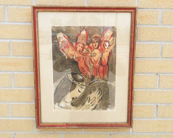 1960 Marc Chagall Sarah & the Angels Lithograph