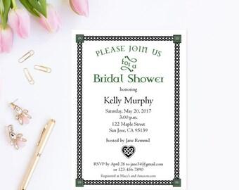 Irish Bridal Shower Invitation Template,  Printable Wedding Shower Invites, Instant Download Editable PDF Template #WCT-03