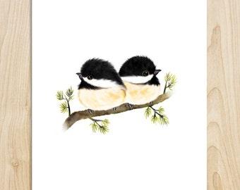 Chickadees, black capped chickadees, chickadee art, bird painting, bird gifts, bird lover, bird decor, bird print, bird wall art