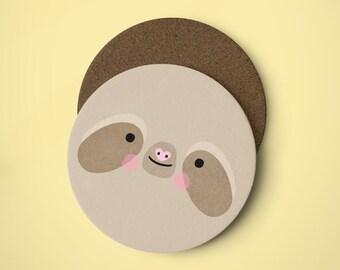 Cute Sloth Face Coaster - Illustrated Coaster, Sloth Coaster, Cute Coaster, Animal Coaster, Funny Sloth, Sloths Coaster, Sloth Print, Animal