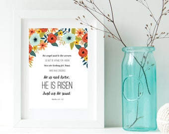 He is Risen, Easter Art Print, Printable, Instant Download, 8x10