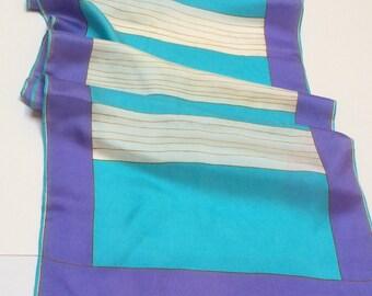 Vintage Vera Neumann Silk Scarf, Designer Silk Scarf, Turquoise White and Mauve, 1970s