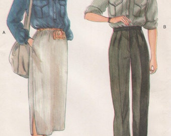 Vintage Vogue Shirt, Slim Skirt & Fly Front Pants, Womens Size 10 Uncut Sewing Pattern 1980s