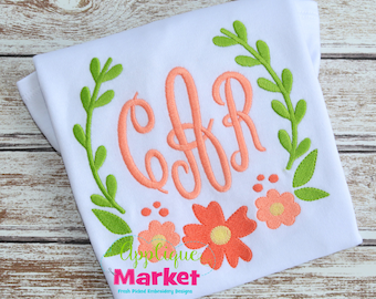 Machine Embroidery Design Embroidery Laurel Wreath Flowers INSTANT DOWNLOAD
