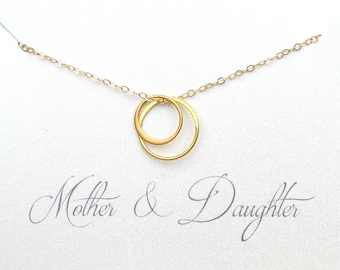 Mother Daughter Necklace, Gift For Mom On Wedding Day, To Mom From Daughter Jewelry, Dainty Circle Necklace Rose Gold, Sterling Silver