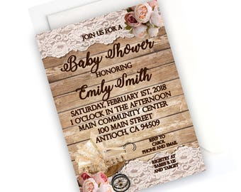 RUSTIC SHOWER INVITATION- Rustic Baby Shower, Rustic Wood and Lace Invitations, Peonies Baby Shower