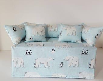 Hand-made Polar Bear and Penguin Couch/Sofa Tissue Box- Sparkly