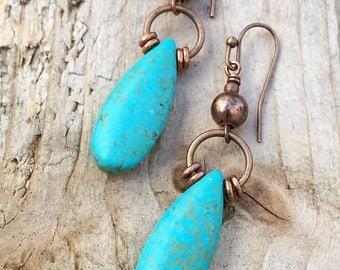 Turquoise Earrings Dangle Earrings Drop Earrings Boho Earrings Boho Jewelry Copper Earrings Dangle Copper Jewelry Copper Earrings