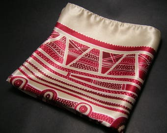 Vintage Red/Cream Scarf - Geometric Pattern - La Redoute
