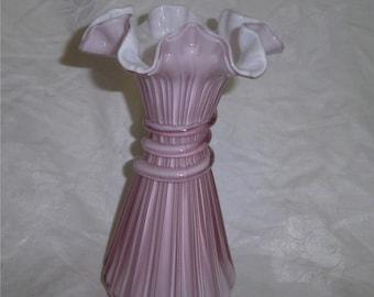 FENTON ART GLASS Dust Rose Overlay Wheat Vase