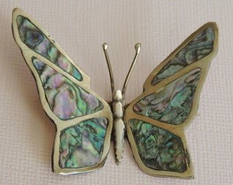 Abalone Sterling Butterfly Brooch Signed