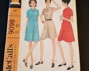 Vintage mccall's 1967 uncut dress or pant dress size 16.5 bust 39 VP1