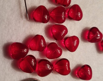 50 10mm Ruby Red Clear Heart Beads