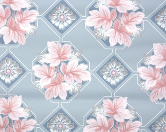 1940s Vintage Wallpaper by the Yard - Pink Leaves on Blue Geometric
