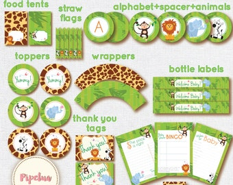 ON SALE! Babyshower Jungle Safari Party Package. Instant download. Printable. Jungle Safari Babyshower. Babyshower printables