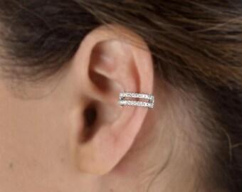 Double 9ct Yellow Gold Ear Cuff (non-pierced) clip on helix earring N6uFOe
