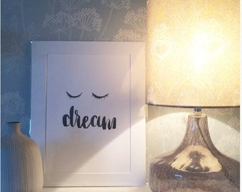 Dream print, eyelash print,monochrome print, rose gold print, gold wall art,silver art, gifts for home,bedroom wall print,childrens print