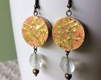 Small Gold Geo-Lines Wine Cork Earring