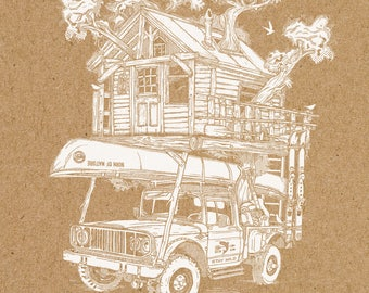 Tree House Print - A Life Outdoors - Screen Printed Poster - 16 x 20